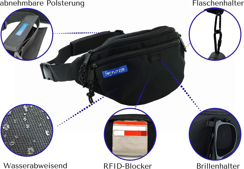 RFID Reise Bauchtasche Fitness und Reisen| Wasserabweisend Schwarz G/ürteltasche| H/üfttasche Flitzer Bauchtasche f/ür Damen und Herren Umh/ängetasche| f/ür Outdoor mit Karabiner|