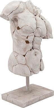 Sagebrook Home Cracked Torso Sculpture, White, 15.25 x 8.75 x 25.5 (13622-03)