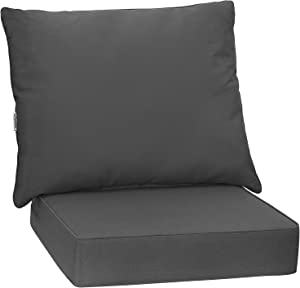 Giantex Patio Cushion Set, Deep Seat and Back Cushion, Outdoor Chair Pads with Ties, Cushion Replacement for Patio Furniture, Waterproof and High Resilient, 6 Inch Thick Indoor Floor Cushion