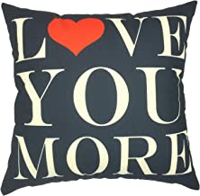 YOUR SMILE Valentine's Day Love Cotton Linen Square Decorative Throw Pillow Case Cushion Cover 18x18 Inch,Black