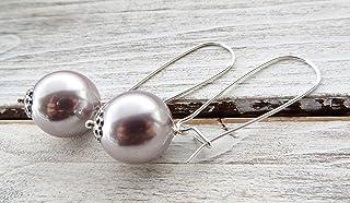 Orecchini con grandi perle lavanda, pendenti in argento 925, orecchini sposa, gioielli matrimonio, bijoux donna, accessori...