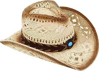Men & Women's Woven Straw Cowboy Hat w/Hat Band