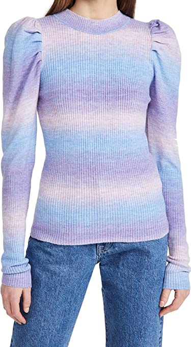 En Saison Women's Puff Sleeve Sweater Top