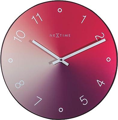 NeXtime Wall Clock-Diameter 40 cm-Glass/Metal-Red-'Gradient, 40 x 0.7 cm