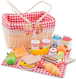 New Classic Toys Wooden Pretend Play Toy for Kids Picnic Basket Set Cooking Simulation Educational Toys and Color Percepti...