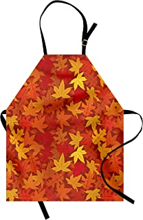 Ambesonne Orange Apron, Colorful Autumn Fall Season Maple Leaves in Unusual Designs Nature Print, Unisex Kitchen Bib with Adjustable Neck for Cooking Gardening, Adult Size, Burnt Orange