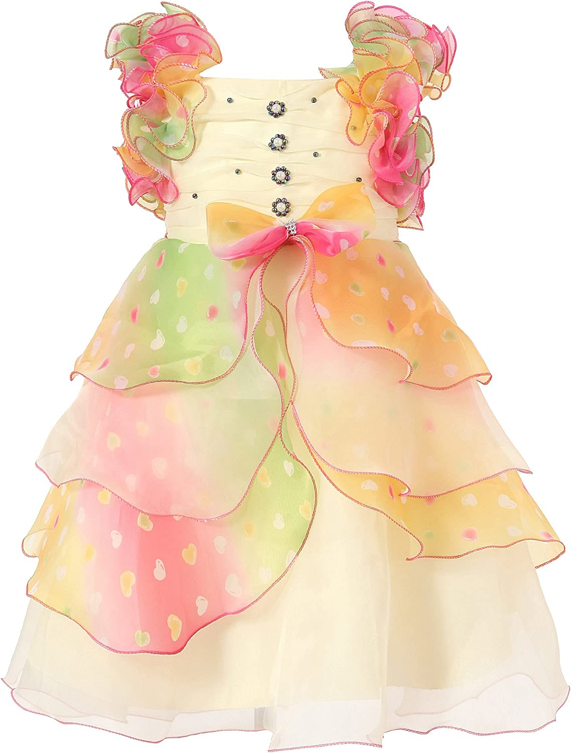 Richie House Girls' Dress with Pastel Ruffles and Pearls Size 3-12Y RH0920