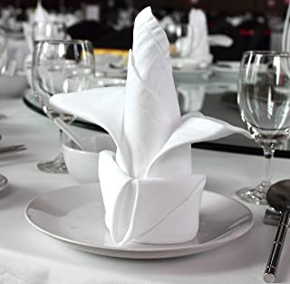 96 pieces White Dinner Napkins for Banquets & Restaurants, Commercial Grade 100% Polyester with Soft Cotton Touch, 20