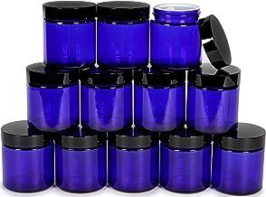 Vivaplex, 12, Cobalt Blue, 4 oz, Round Glass Jars, with Inner Liners and Black Lids