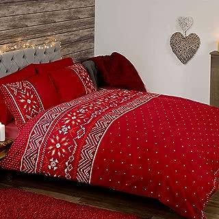 Generic Duvet Nordic Christmas UK Double/US Full Duvet Cover and Pillowcase Set - Red