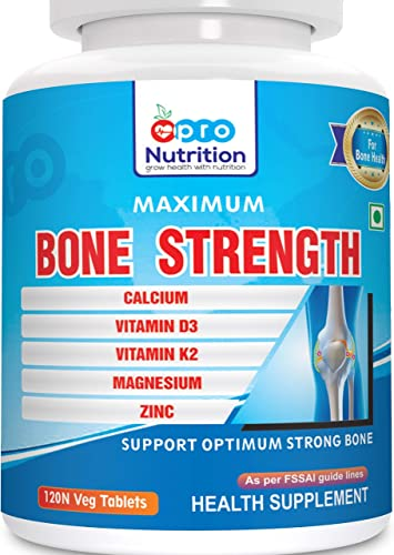 ProNutrition Bone Strength with Calcium Citrate Vitamin D3 Vitamin K2 Magnesium citrate Zinc Supplement for Complete Bone Health 120 Veg Tablets