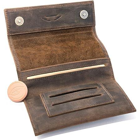 COMARI Porta tabacco in cuoio | doppio scomparto per cartine e filtri | chiusura magnetica | umidificatore per tabacco gratis (marrone vintage)