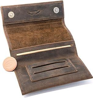 COMARI Porta tabacco in cuoio | doppio scomparto per cartine e filtri | chiusura magnetica | umidificatore per tabacco gra...