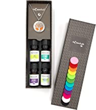 "Wild Essentials Tree of Life Essential Oil Diffuser Necklace Gift Set - Includes Aromatherapy Pendant, 24"" Stainless Steel Chain, 12 Pads and 100% Pure Oils (Lavender, Peppermint, Inner Calm and Zen)"