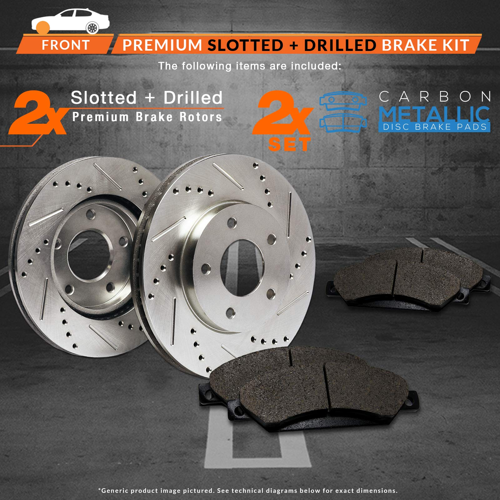 2006-2008 Lincoln Mark LT 4WD Premium Slotted Drilled Rotors + Ceramic Pads Max Brakes Front Performance Brake Kit KT011631 Fits: 2004-2008 Ford F150