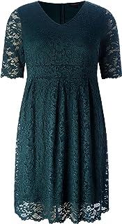 فستان شيك للنساء مقاس إضافي أنيق من الدانتيل ذو صدفي - فستان حفلات الكوكتيل المسائية بطول الركبة