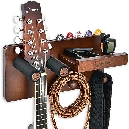 Donner Support Mural pour Guitare en bois, Accroche Guitare multifonctionnel avec support de médiators et 2 crochets pour ukulélé violon basse guitares électriques classique acoustique et accessoires