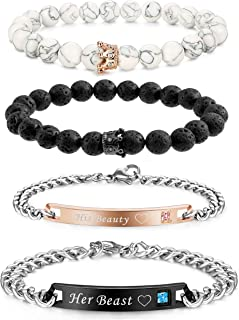 4 Pcs Couples Bracelet for Men Women His & Her Stainless Steel Chain Crown Queen 8mm Beads Bracelets ?-