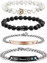 FIBO STEEL 4 Pcs Couples Bracelet for Men Women His & Her Stainless Steel Chain Crown Queen 8mm Beads Bracelets ?-