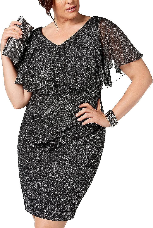 CONNECTED APPAREL Women's Plus Size Metallic Popover Dress