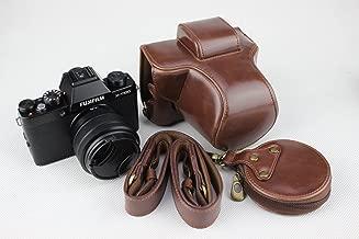 X-T100 Case, BolinUS Handmade PU Leather FullBody Camera Case Bag Cover for Fujifilm Fuji X-T100 XT100 15-45mm Lens Bottom Opening Version + Neck Strap + Mini Storage Bag -Coffee