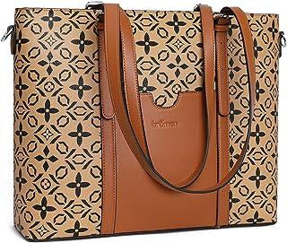 BROMEN Leder Handtasche Damen Shopper 15.6 Zoll Laptoptasche 3-Way Schultertasche Arbeitstasche Frauen Groß Umhängetasche