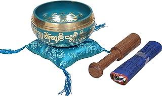 Tibetan Singing Bowl Set by Dharma Store - with Traditional Design Tibetan Buddhist Prayer Flag - Handmade in Nepal (Turqu...