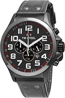 TW Steel Pilot Watch - Stainless Steel Plated Titanium Watch - Grey Dial Date 24-hour TW Steel Watch Mens - Grey Leather Band 48mm Chronograph Watch TW423