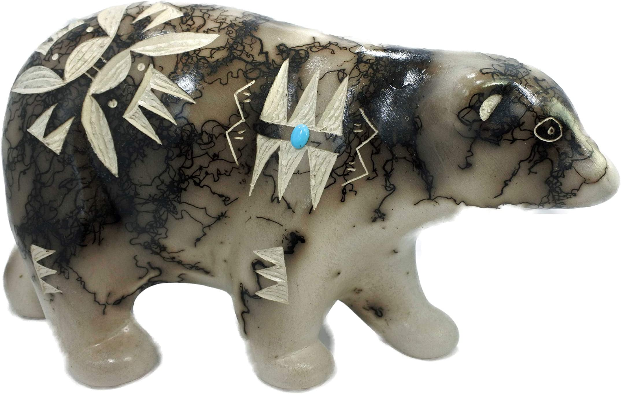 Navajo Handetched Horsehair White Clay Bear Pottery