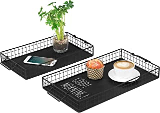 MyGift Black Metal Nesting Chalkboard Serving Trays with Handles, Set of 2