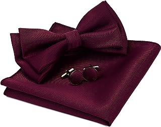 ست بند دکمه دار پاپیون و مربع جیبی دو لایه از نوع جامد مردانه GUSLESON با جعبه کادو