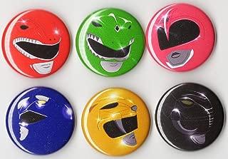 Power Rangers Button Set 6PCS - 1 INCH PIN Back