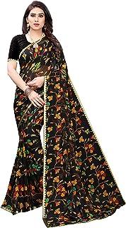 ANNI DESIGNER Women's Pure Chiffon Printed Saree (BLACK)