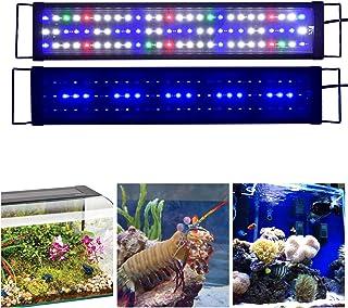 KZKR Aquarium Hood Lighting LED Fish Tank Light 16-84 inch Lamp for Freshwater Saltwater Marine Full Spectrum Blue and White Decorations Light