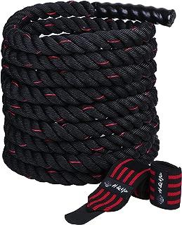 H&Yo ジムロープ バトルロープ トレーニングロープ 極太なわとび アスリート格闘家仕様 リストバンド付