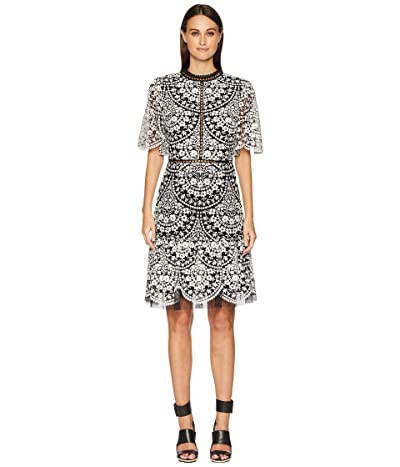 ML Monique Lhuillier Embroidered Mesh Cocktail Dress with Flutter Sleeve (Jet/Ivory Combo) Women