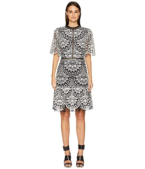 ML Monique Lhuillier Embroidered Mesh Cocktail Dress with Flutter Sleeve