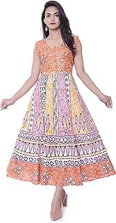 6TH AVENUE STREETWEAR Women's Cotton Long Dress - Free Size, Orange