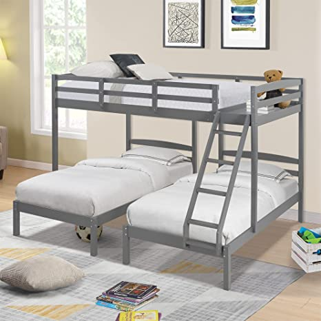 Amazon Com Full Over Twin Twin Bunk Bed Triple Bunk Beds With Storage Wooden Bunk Beds For Kids Teens Adults Gray Kitchen Dining
