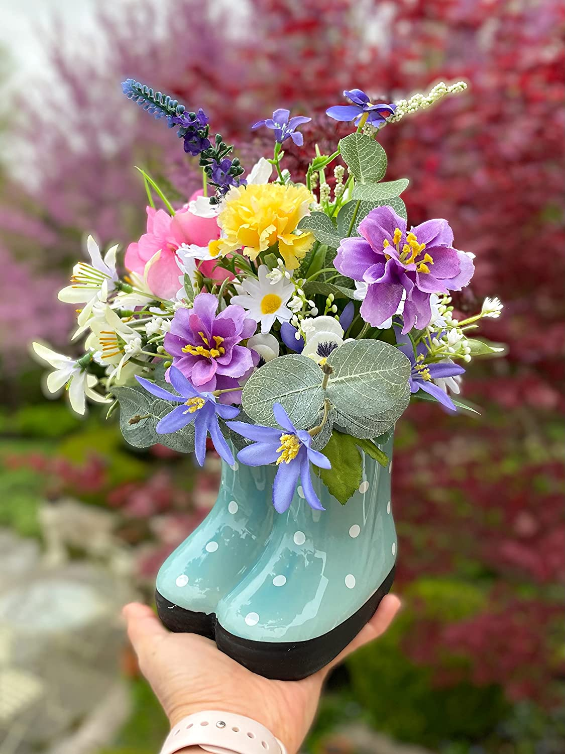 Adorable Flower Arrangement in Mini Boots Ceramic Dot Polka Quality inspection Ranking TOP18