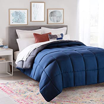 Linenspa All-Season Reversible Down Alternative Quilted Comforter - Hypoallergenic - Plush Microfiber Fill - Machine Washable - Duvet Insert or Stand-Alone Comforter - Navy/Graphite - Full