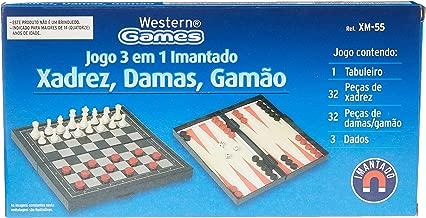 Jogo 3 x 1 Imantado Xadrez Dama e Gamão Western Marrom