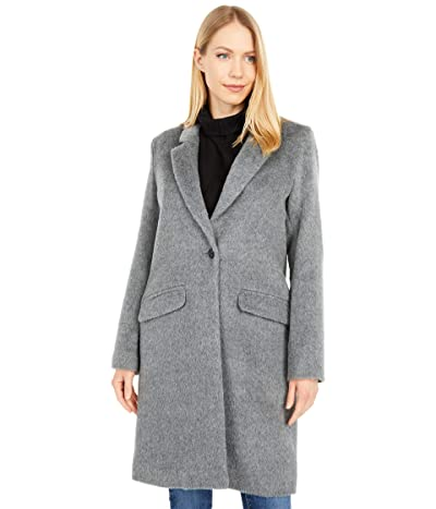 Cole Haan Single Breasted Wool Blend Coat (Medium Grey) Women