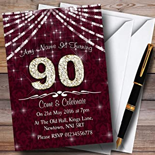 90Th Claret & White Bling Sparkle Birthday Party Personalized Invitations