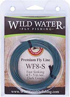 Wild Water Weight Forward 8-Weight Dark Green Fast Sinking Fly Fishing Line, 90 feet