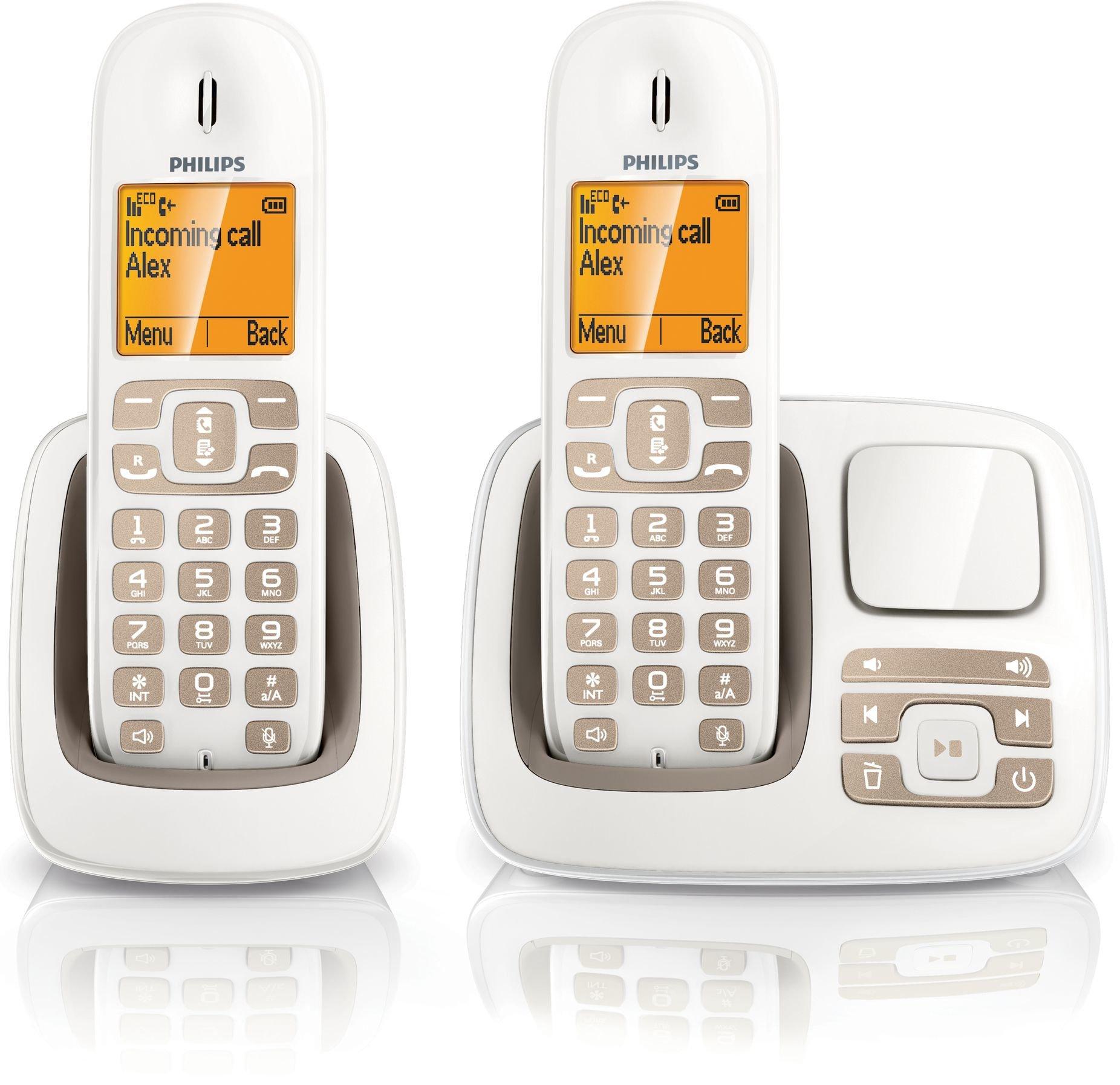 Philips - CD2952WB - Teléfono fijo inalámbrico con contestador, color blanco marfil [Importado de Francia]: Amazon.es: Electrónica