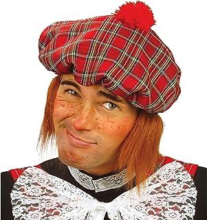 Karierte Baskenmütze Schotte Highlander Kappe Schottenmütze mit Bommel Barett