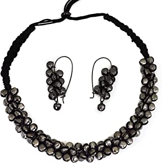 Total Fashion Afghani Oxidised German Silver Jewellery Antique Designer Artificial Black Ghungroo Choker Necklace Set for ...