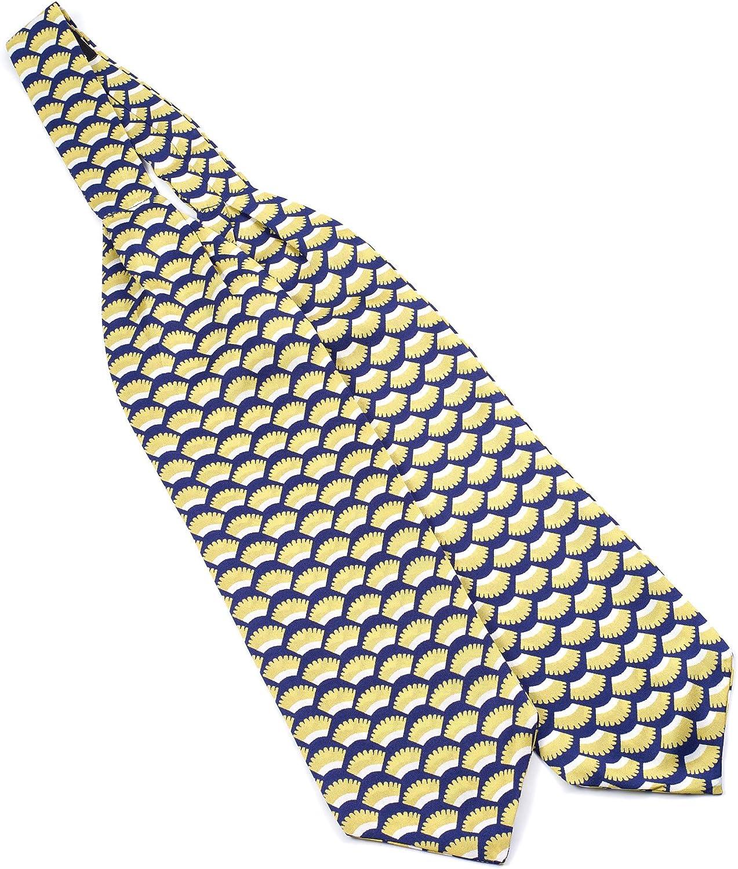 Chrysanthemum Royal Blue Ascot Men's Scarf