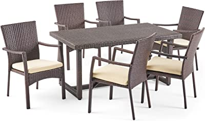 Christopher Knight Home 304726 Able Outdoor 7 Piece Wicker Dining Set, Multibrown with Crème Cushions